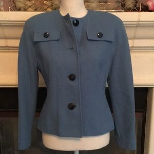 Gorgeous blue gabardine fitted blazer w/ back belt